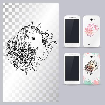 Black and white animal horse head, boho style, abstract art, tattoo, doodle sketch. Outlines of animal. Vector illustration for phone case. Illusztráció