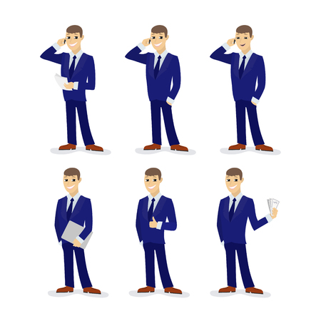 Set of cartoon businessmans, man in tuxedo with telephone and papers, people talking on the phone, businessman with laptop, man shows gesture OK, the man with money.