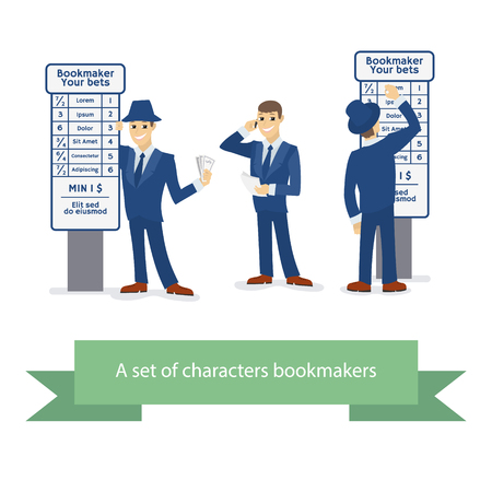 bets: Bookie character, cartoon comic man with phone and paper, man with the money and bets, man man in a hat and a tuxedo writes on the board bets. illustration bookmaker.