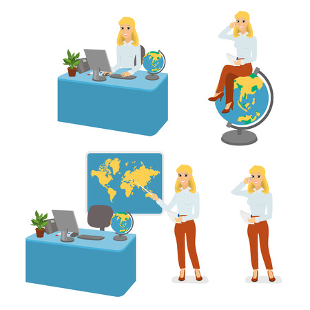 amenities: Cartoon character travel agent set, manager. Tour agency. Comic blonde woman sitting at computer table, shows pointer on world map, sitting on globe, stands and talking on phone.