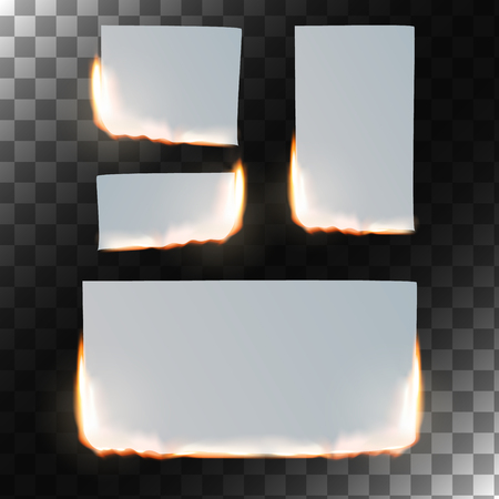 square sheet: Burning paper set. Sheet of paper in flame on transparent background. Rectangular and square shapes.