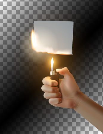 embers: Hand with lighter on transparent background. Burning piece of paper. Vector illustration.