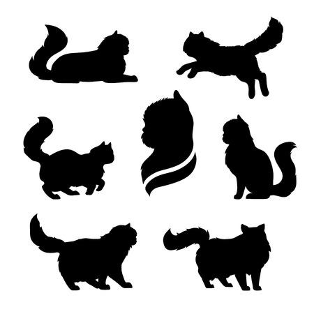 Persan icônes de chat et de silhouettes. Saut en cours d'exécution assis couché debout chat va. Ensemble de noir de vecteur et les animaux de compagnie blanc. Animaux contours. L'art du tatouage. chaton pelucheux isolé. Cat pose.