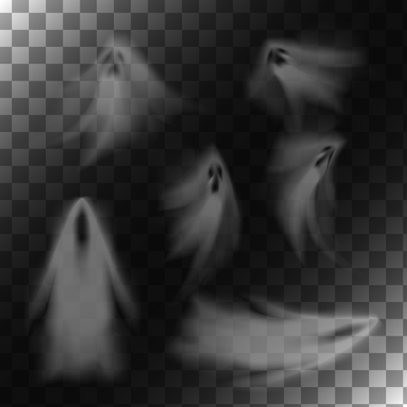 Ghosts on transparent background. Translucent isolated phantoms set. Vector illustration. Illustration