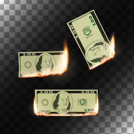 burning paper: Burning money on transparent background. Hot sale design. Isolated vector illustration. Illustration