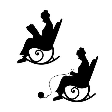 Abuela con la bola de tejidos de punto de hilo en una silla. La abuela lee el periódico. El concepto de la vejez, un hogar de calidez, confort. Conjunto de siluetas negras e iconos. Conjunto de ilustraciones vectoriales.