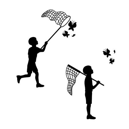 Un niño juega con una red de mariposas. Siluetas negras e iconos. El concepto de la alegría, la felicidad, la infancia. Ilustración del vector.
