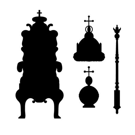 Uno scettro, il potere, la corona e il trono. Vector set reale. Sagome nere e icone. Illustrazione vettoriale.