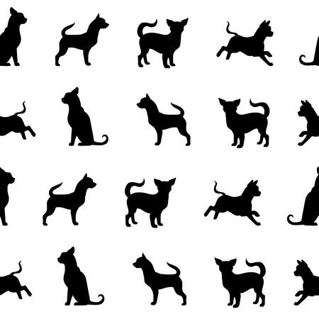 Chihuahua vector patrón de perro pequeño. Animales siluetas de fondo sin fisuras. Diseño para la ropa, regalos y así sucesivamente. Ilustración del vector.