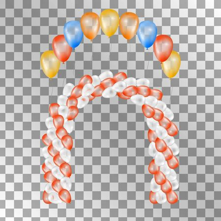 red balloons: Balloons on transparent background. Vector set for greeting cards. Arch of balloons isolated. Red orange yellow blue balloons. 3d design.