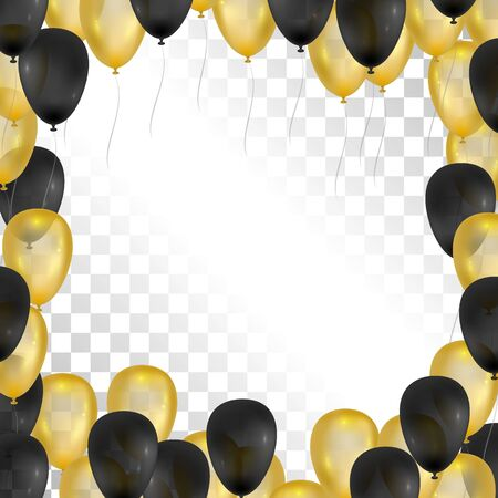 balloon background: Balloons on transparent background. Gold and black frame for greeting cards. Vector balloons isolated. 3d design.