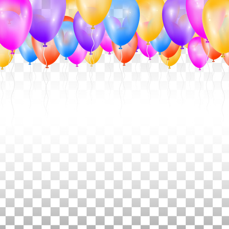 Ceiling Covered in Balloons on transparent background. Vector illustration. Design for wedding.  イラスト・ベクター素材
