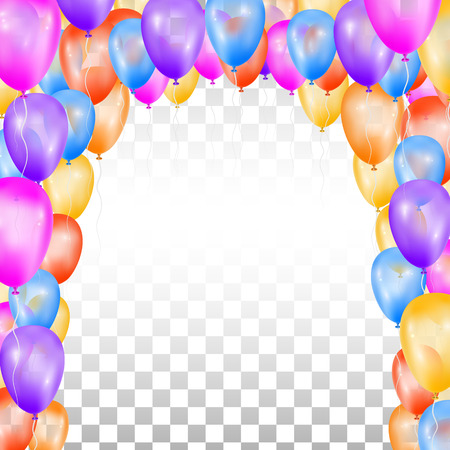 Balloons in the shape of arch on transparent background. Vector illustration. Design for holiday.