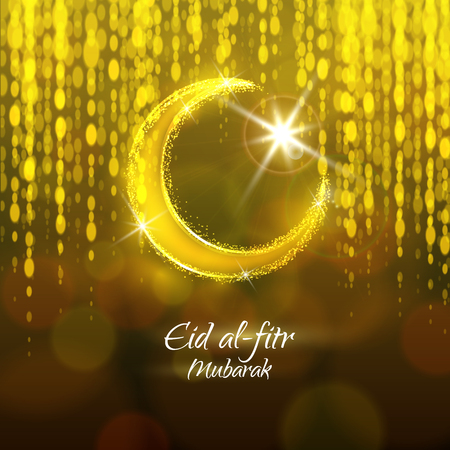 Eid al-fitr vector illustration for the holiday. Crescent and star. Yellow and brown design for the festival.