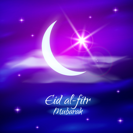 Eid al-fitr vector illustration for the holiday. Crescent and star. Blue and purple design for the festival.