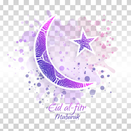 Eid al-fitr vector illustration on transparent background. Crescent and star. Blue and purple design for the festival. Çizim