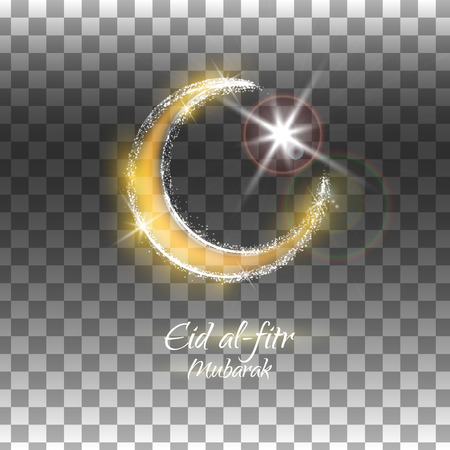 kuran: Eid al-fitr vector illustration on transparent background. Crescent and star. Yellow and brown design for the festival.