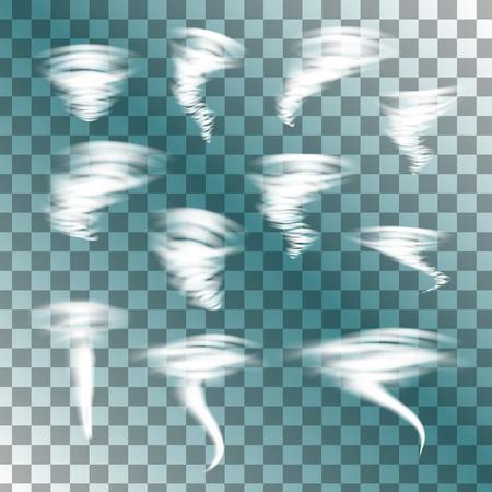 pellucid: Tornado on transparent background, vector set. Designs with hurricane. Vector illustration.