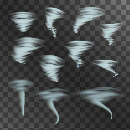 foul: Tornado on transparent background, vector set. Designs with hurricane. Vector illustration.