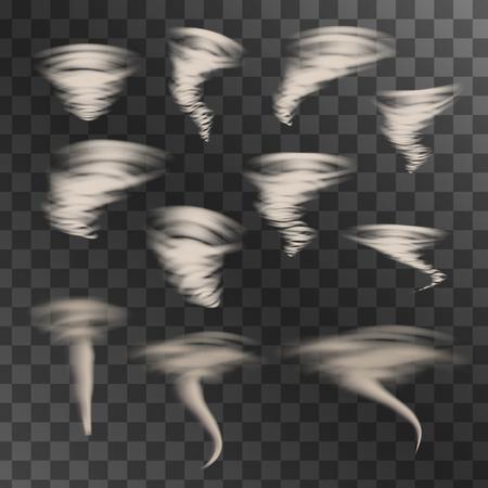 typhoon: Tornado on transparent background, vector set. Designs with hurricane. Vector illustration.