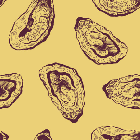 Oysters vintage vector seamless pattern. Graphic design. Sea food. Vector illustration. Ilustrace