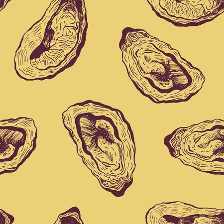 Oysters vintage vector seamless pattern. Graphic design. Sea food. Vector illustration. Illustration