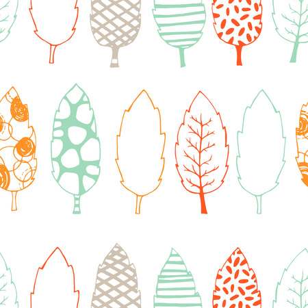 clothe: Leaves hand drawn vector seamless pattern. Black white orange blue graphic design. Abstract foliage for textile, background, clothe and so on. Doodle sketch. Vector illustration.