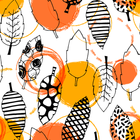 clothe: Leaves hand drawn vector seamless pattern. Black white orange yellow graphic design. Abstract foliage for textile, background, clothe and so on. Doodle sketch. Vector illustration.