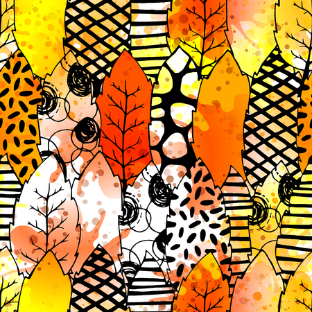 clothe: Leaves hand drawn vector seamless pattern. Black white orange yellow graphic design. Watercolor abstract foliage for textile, background, clothe and so on. Doodle sketch. Vector illustration.
