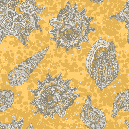 Vector seamless pattern with abstract shells. Hand drawn doodle background on theme of summer. Orange and brown design. Vector illustration. Illustration