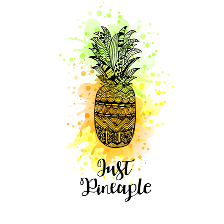 calligraphical: Hand drawn vector pineapple with lettering. Black white yellow and green graphic design. Abstract patterned fruit for your creativity. Doodle sketch with watercolor. Vector illustration.
