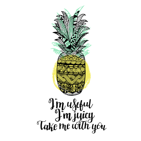 Hand drawn vector pineapple with lettering. Black white yellow and blue graphic design. Abstract patterned fruit for your creativity. Doodle sketch. Vector illustration. Illustration