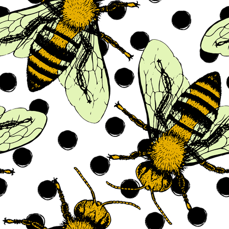 Seamless vector pattern with bees. Hand drawn vintage graphic doodle design. Sketch with animal. Pattern for print on fabric. Vector illustration. Endless background.