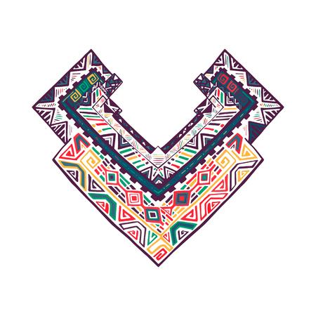 clothe: Graphic tribal print on neck. Boho design. Aztec pattern for clothe. Hand drawn geometric line image. Vector illustration.