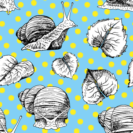 Hand drawn seamless pattern with snails. Black and white vector sketch. Vintage image for fabric. Doodle line illustration with animals and leaves.