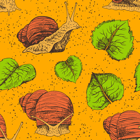 Hand drawn seamless pattern with snails. Brown and orange sketch. Vintage image for fabric. Doodle line illustration with animals and leaves.