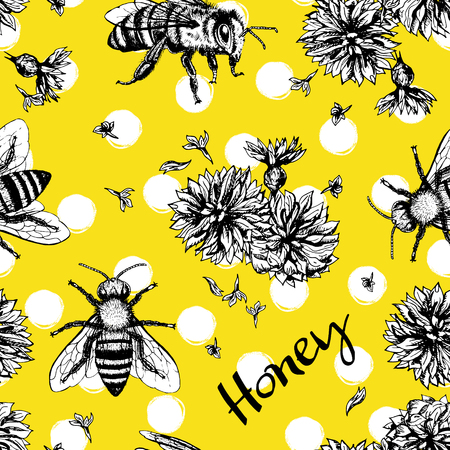 buzz: Seamless vector pattern with bees and flowers. Hand drawn vintage graphic doodle design. Sketch with animal. Pattern for print on fabric. Vector illustration. Endless background.