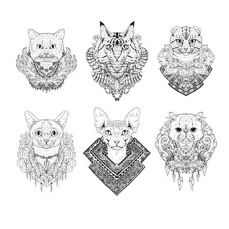 Hand getrokken kat gezichten. Set van grafische zwart-witte dieren met bloemen. Het verzamelen van dierenkoppen. Kattenrassen. Tattoo art. Doodle lijn abstract ontwerp. Vector illustratie.