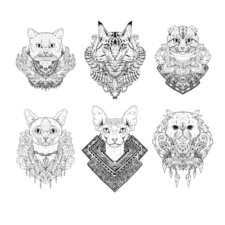 Hand drawn cat faces. Set of graphic black and white pets with flowers. Collection of animal heads. Cat breeds. Tattoo art. Doodle line abstract design. Vector illustration.