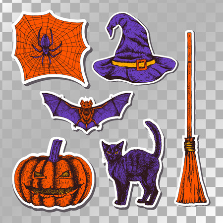 Hand drawn halloween set of stickers isolated on transparent background. Sketches of bat spider web witch hat black cat broom and pumpkin. Doodle line graphic design. Vector orange and purple images. Illustration