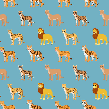 puma: Seamless pattern with cartoon animals. Funny endless background with lion leopard cheetah ocelot puma and tiger. African pattern. Vector illustration.
