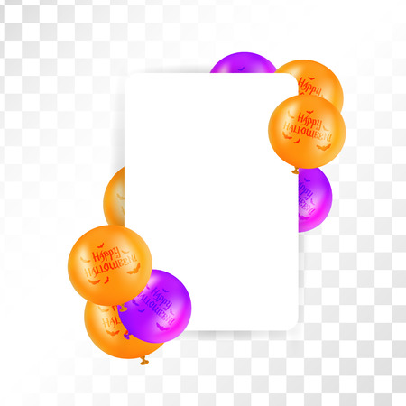 Hallooween frame with balloons on transparent background. Orange and purple rectangular border. Vector illustration.