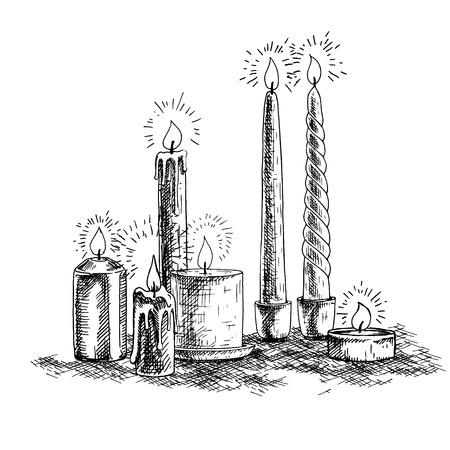 Dibujado a mano la composición de las velas. bocetos retro aislado. Tarjeta festiva. Doodle línea de diseño gráfico. Vector vendimia en blanco y negro de la imagen. Ilustración del vector. Foto de archivo - 65021972