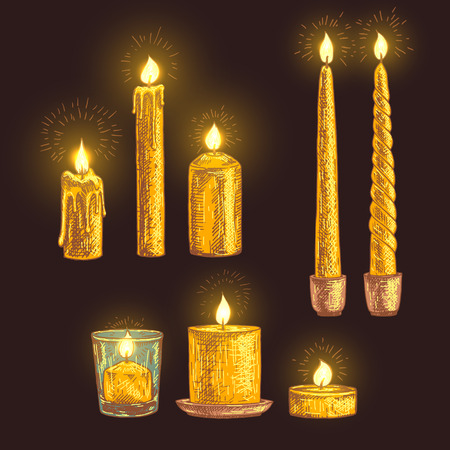 leaking: Hand drawn set of candles. Retro sketches isolated. Christmas festive collection. Doodle line graphic design. Vector vintage orange and brown images. Vector illustration.