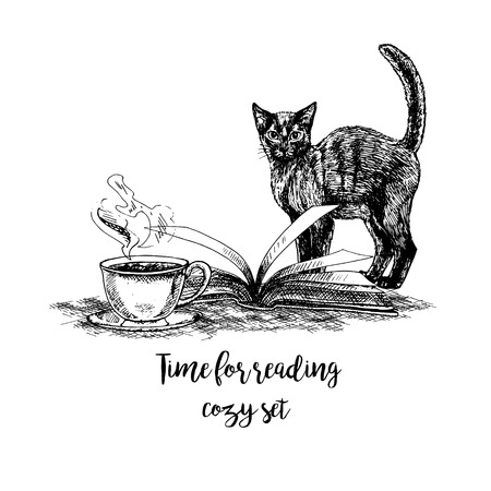 Hand drawn book cat and cup of tea. Retro sketches isolated. Vintage hypster collection. Doodle line graphic design. Black and white drawing images. Vector illustration.