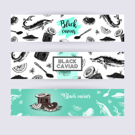 sturgeon: Hand drawn set of banners with black caviar. Vintage hypster collection. Doodle line graphic design. Black and white drawing fish sturgeon jar spoon plate sandwich. Vector illustration.