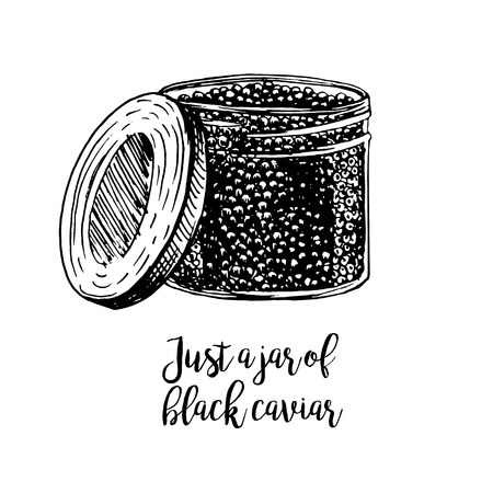 Hand drawn jar with black caviar. Retro sketches isolated. Vintage hypster collection. Doodle line graphic design. Black and white drawing jar with black caviar. Vector illustration.