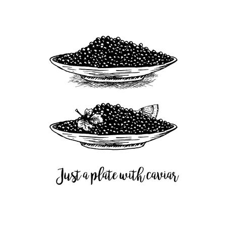 Hand drawn set di piatti con caviale nero. schizzi retrò isolato. raccolta hypster Vintage. progettazione grafica Doodle linea. trafile bianco e nero con caviale nero. Illustrazione vettoriale.