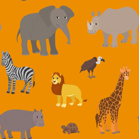 Seamless pattern with cartoon african animals. Endless orange background with lion elephant zebra giraffe rhino hippo vulture turtle. Vector illustration.