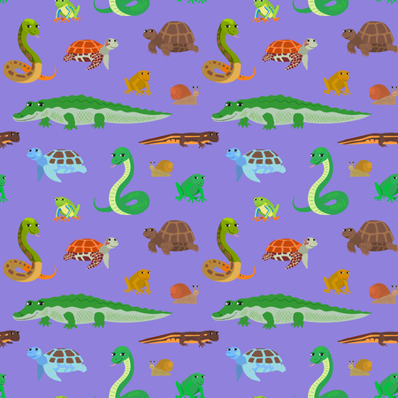 newt: Seamless pattern with cartoon animals. Sea endless purple background with crocodile snake turtle frog newt. Vector illustration. Illustration